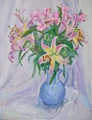 Lilies in Blue Vase - click here to see an enlargement