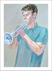 Unfinished, Life Sized), Portrait of Trumpeter (2 short sittings) - click here to see an enlargement (opens a new window in front of this page)