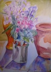 Demonstration flowers in watercolour - click here to see an enlargement (opens a new window in front of this page)